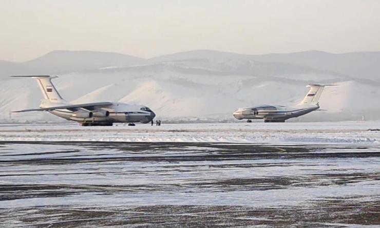 Russian Aerospace Forces aircraft at an airfield in Russia's Eastern Military District, before departure for Wuhan, China, for the first evacuation flight for Russian nationals