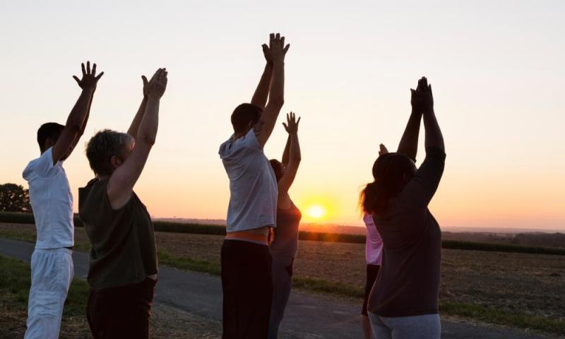 People practising yoga