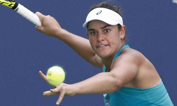 Jennifer Brady eyes the ball as she prepares to return a shot to Karolina Pliskova.