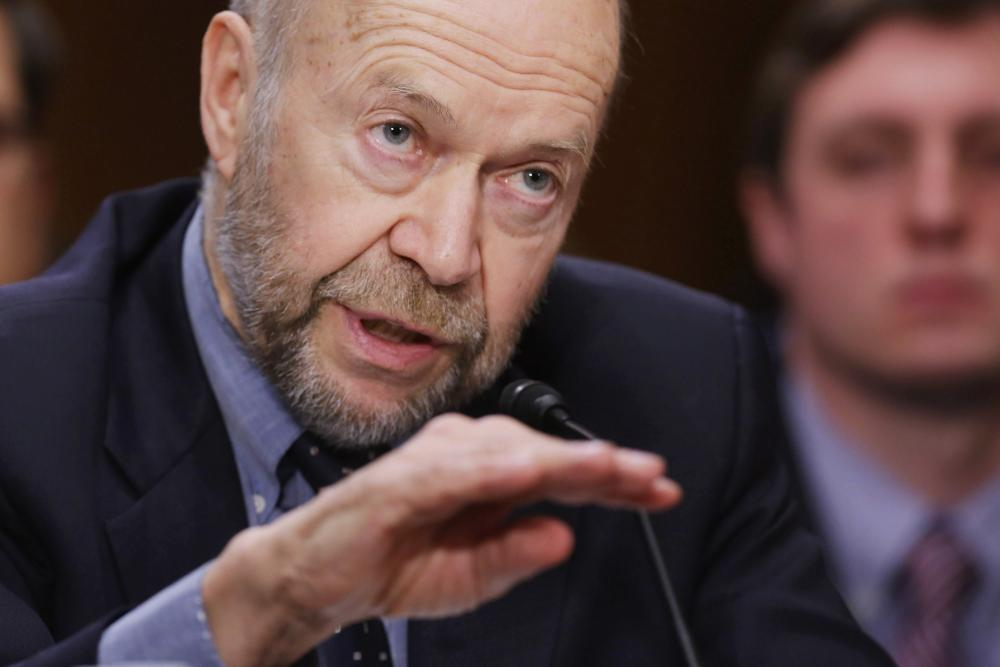 Atmospheric physicist and Columbia University Earth Institute adjunct professor James Hansen testifies before the Senate Foreign Relations Committee during a hearing about the proposed Keystone XL pipeline project in the Dirksen Senate Office Building on Capitol Hill March 13, 2014 in Washington, DC.