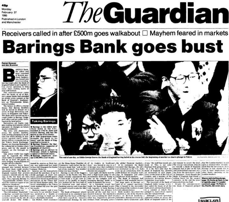 Front page of the Guardian, 1995