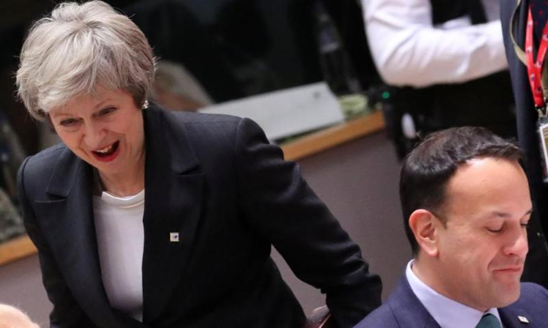 Theresa May and Leo Varadkar at the EU leaders' summit in Brussels.