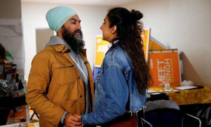 NDP leader Jagmeet Singh talks with wife Sidhu as he stops by the NDP election office on Election Day in Burnaby.
