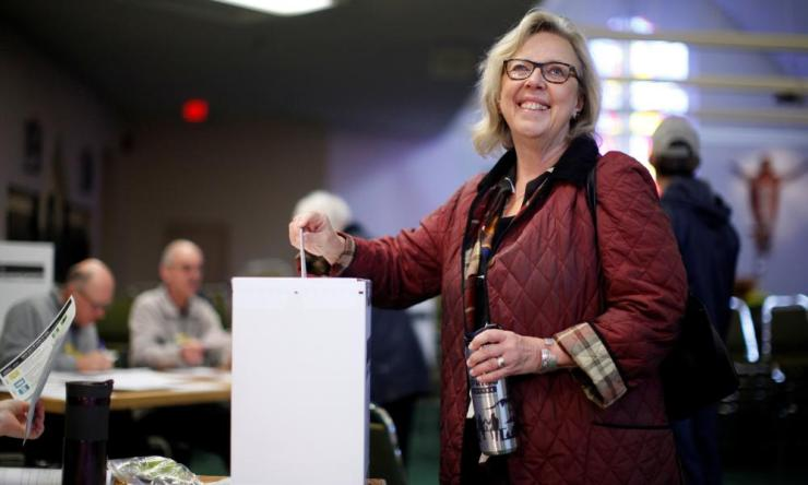 Green Party Leader Elizabeth May casts her vote at St. Elizabeth's Parish while in Sidney, B.C.