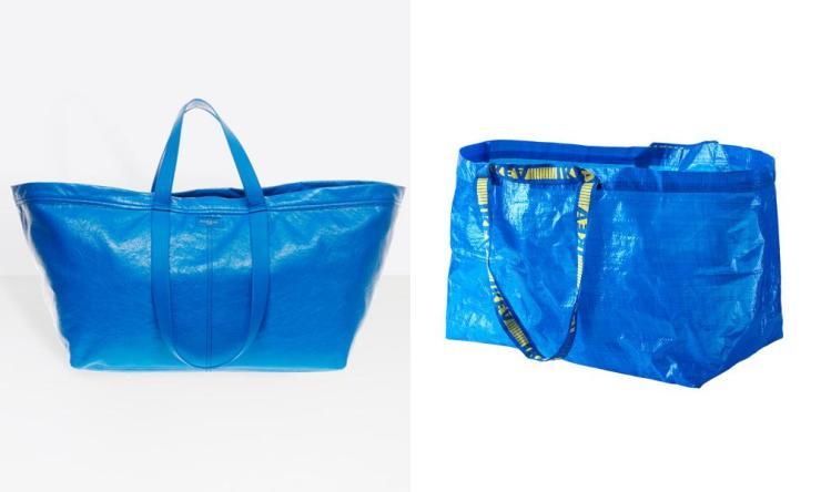 The Balenciaga Carry Shopper bag, left; the Ikea Frakta bag, right.