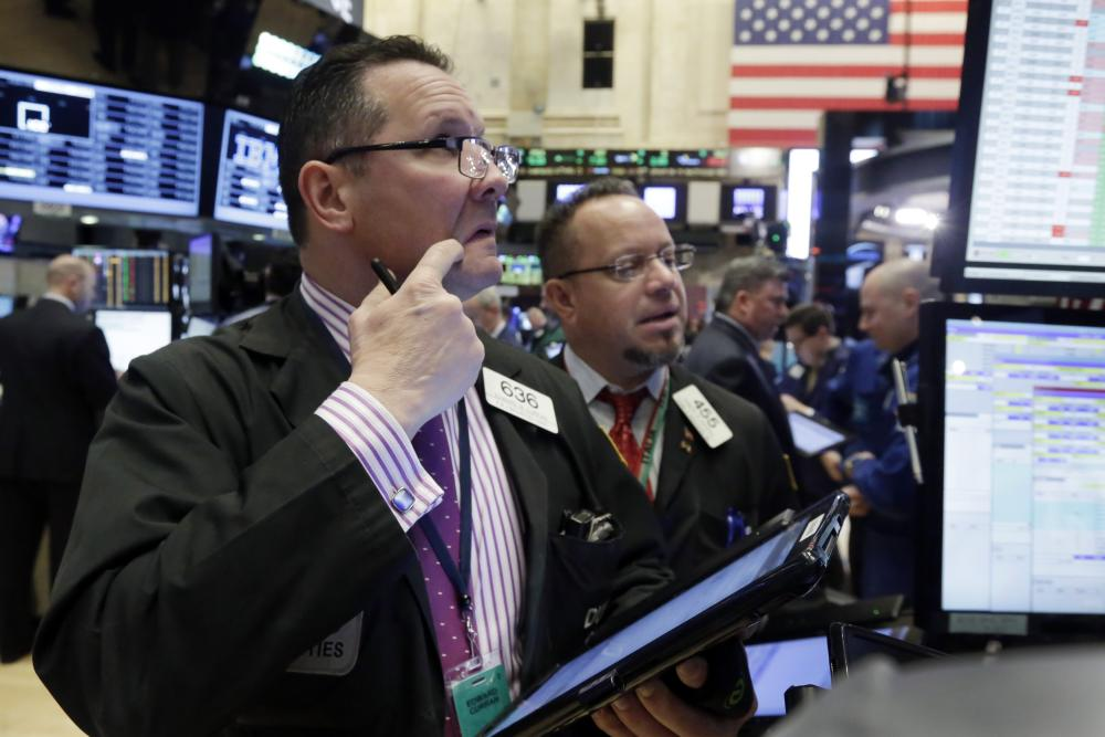 Edward Curran, Robert ArcieroTraders Edward Curran, left, and Robert Arciero work on the floor of the New York Stock Exchange, Monday, Feb. 8, 2016. Stocks are opening broadly lower on Wall Street, putting the market on track for its second sizable loss in a row. (AP Photo/Richard Drew)