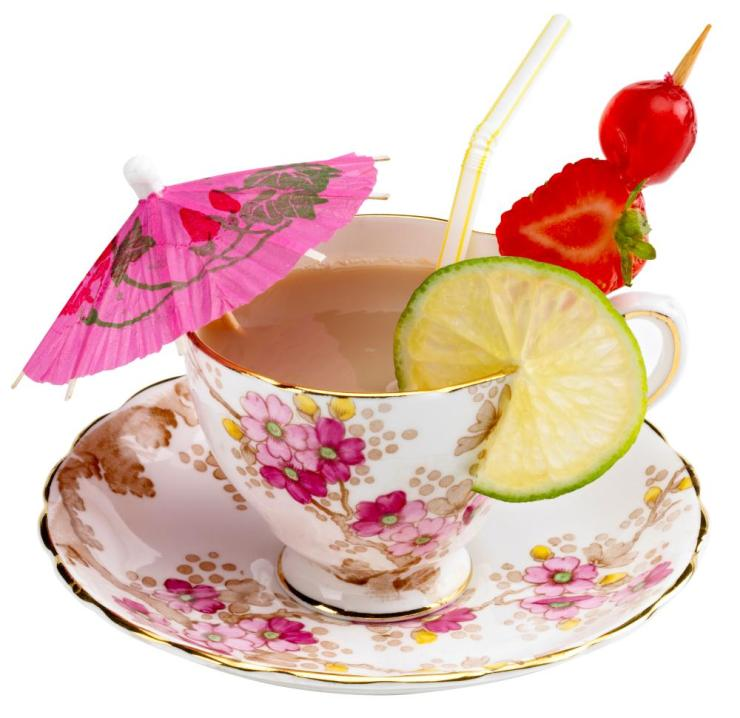 A teacup with the accoutrement's of a cocktail