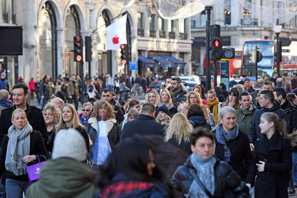 Shoppers on Regents Street in London