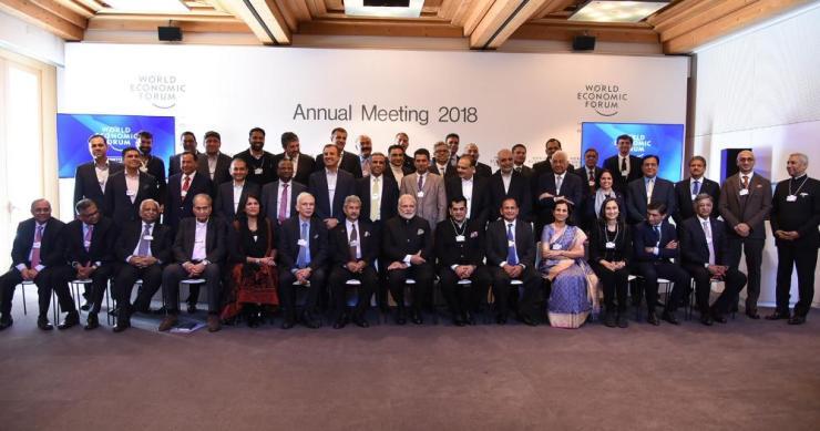 Narendra Modi (bottom row, centre) posing with Indian business leaders including Nirav Modi (middle row, third left).