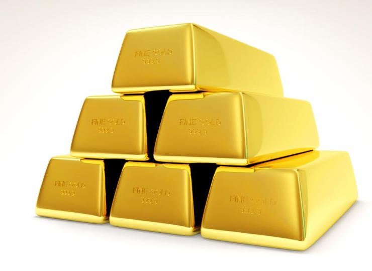 A pyramid of gold bars
