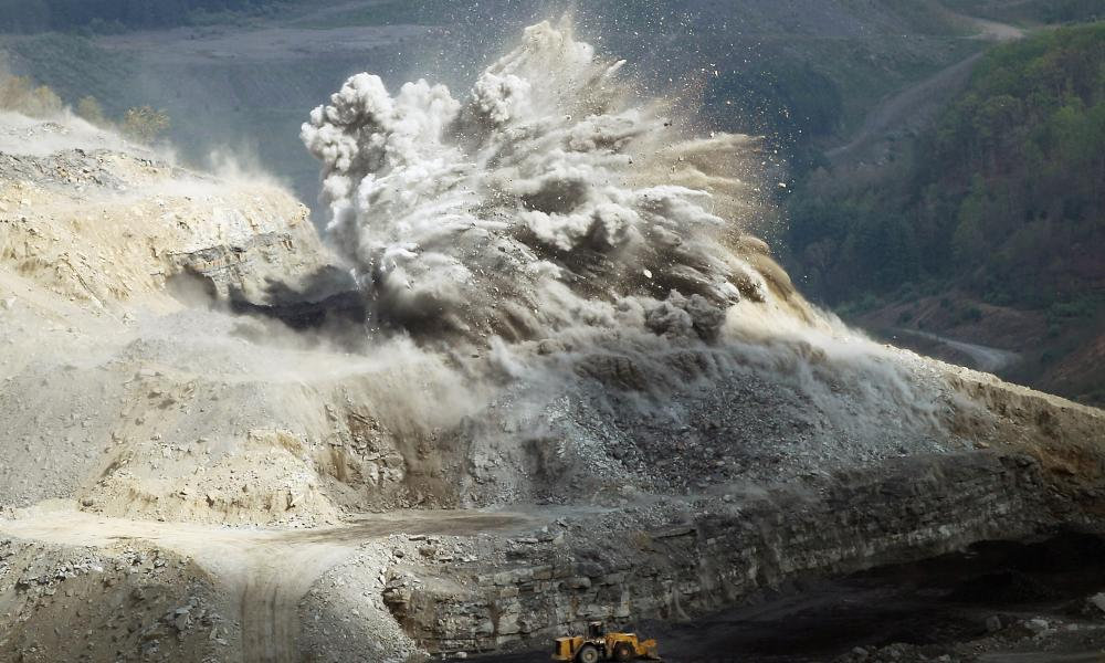 An explosive is detonated at an A & G Coal Corporation surface mining operation in the Appalachians in 2012