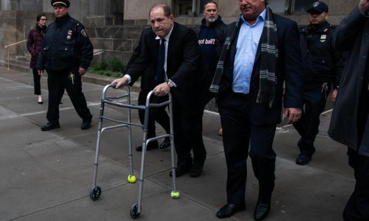Harvey Weinstein departs criminal court in New York after a bail hearing
