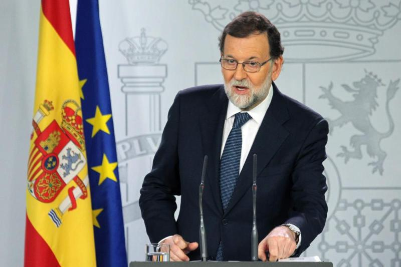Spain's Prime Minister Mariano Rajoy giving a press conference after a crisis cabinet meeting at the Moncloa Palace today.