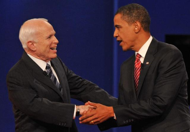McCain and Barack Obama greet each other at the end of their third and final presidential debate in Hempstead, New York in 2008.