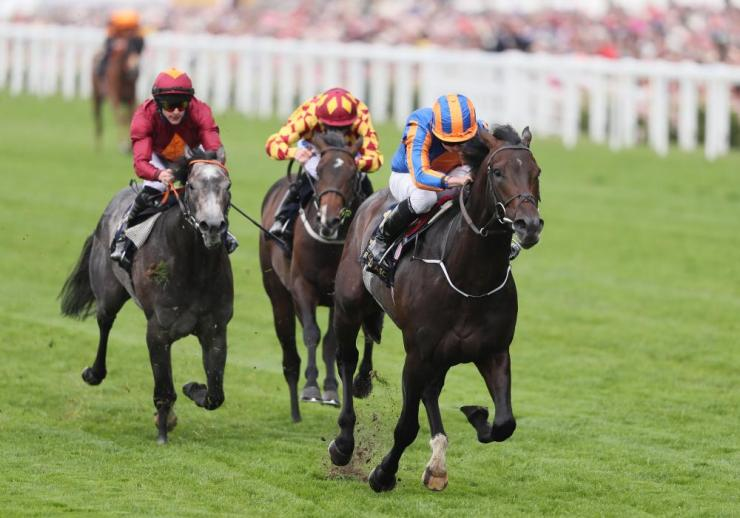 Sioux Nation, ridden by jockey Ryan Moore comes home to win the Norfolk Stakes.