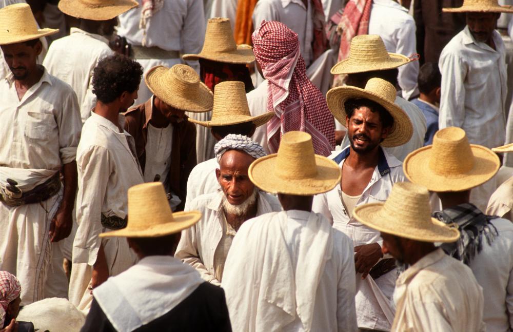 Men at al-Tur market in north-west Yemen