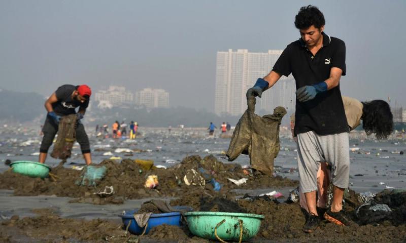 Clean-up at Versova beach.