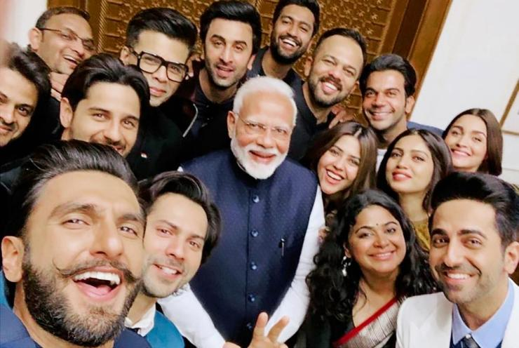 Narendra Modi meets a delegation from the Indian film industry in Delhi.