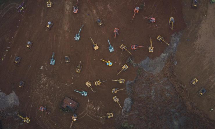 An aerial view of activity at the site of the construction of a 1,000-bed hospital in Wuhan