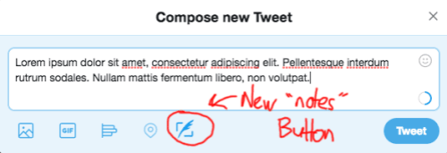 """A mockup of how a """"notes"""" attachment on Twitter might look"""