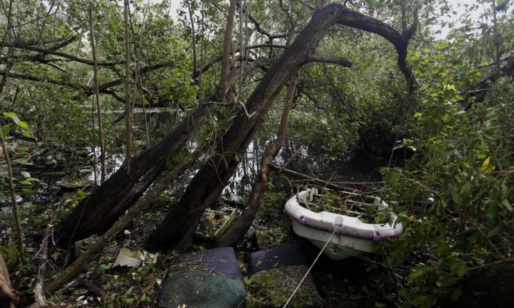 Wreckage in the vicinity of the Santurce neighborhood.