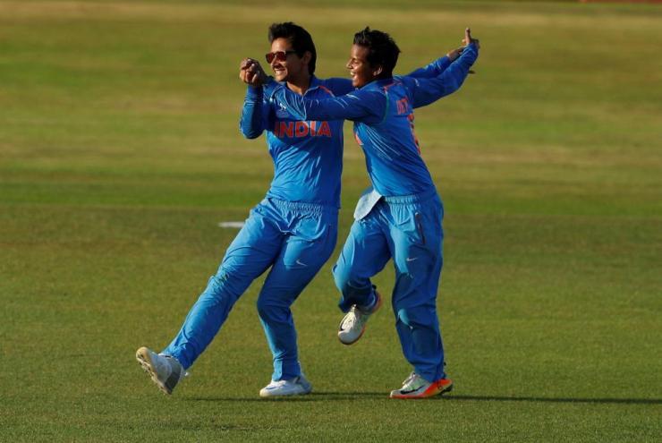Deepti Sharma celebrates the dismissal of Megan Schutt.