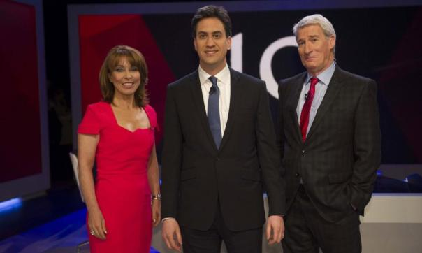 Ed Miliband poses with Kay Burley and Jeremy Paxman.