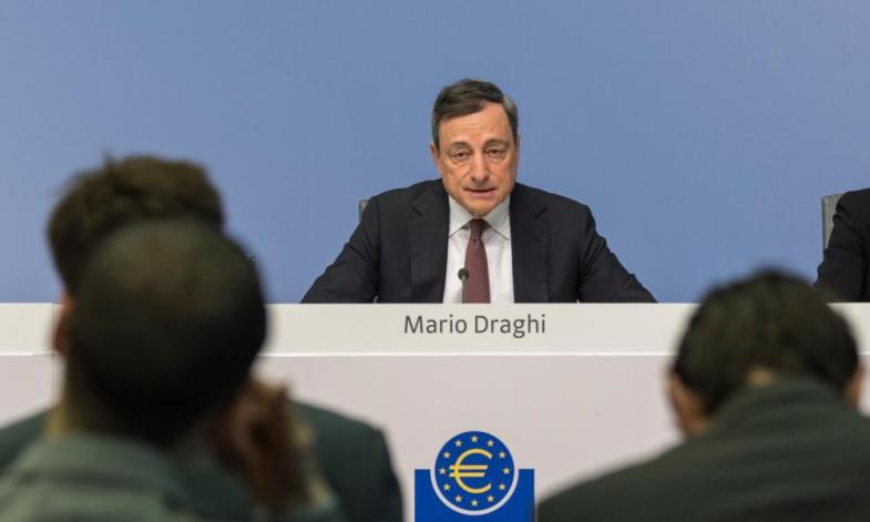 Draghi speaks to the press after the ECB's last meeting.