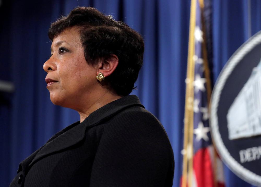 Attorney general Loretta Lynch stands during the announcement of law enforcement action against the state of North Carolina.
