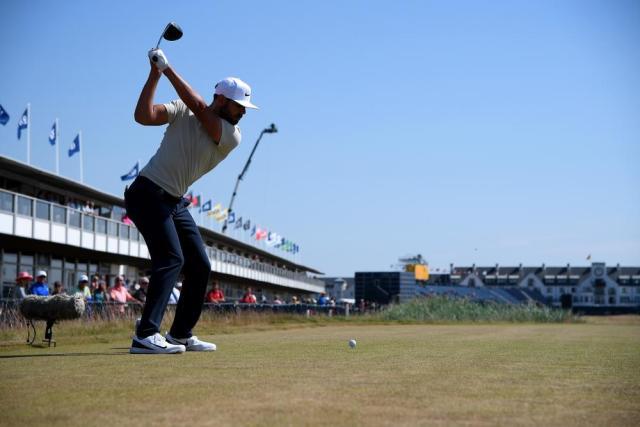 Erik van Rooyen tees off at the 18th hole.