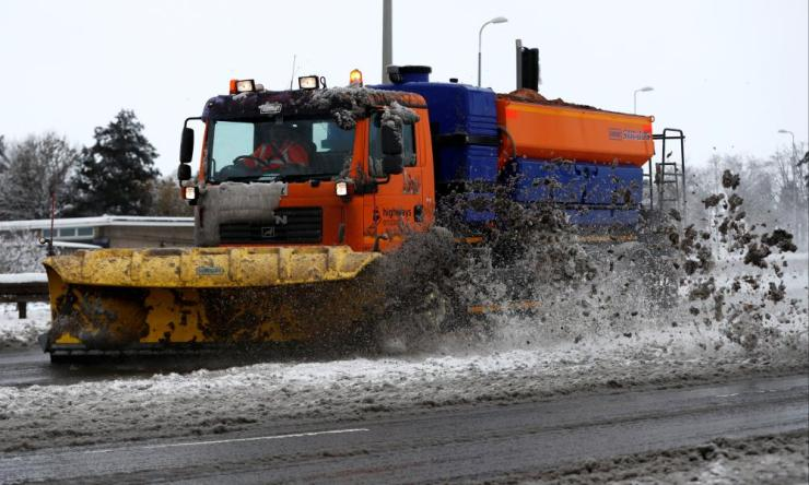 Gritters with snow ploughs were out on the A414 road in Hemel Hempstead, Hertfordshire, on Sunday.