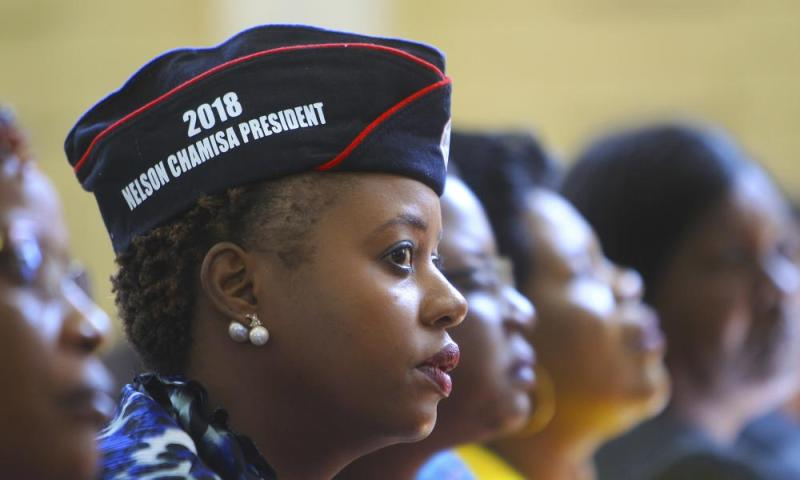 Supporters of the opposition leader Nelson Chamisa attend the launch of the MDC election manifesto.