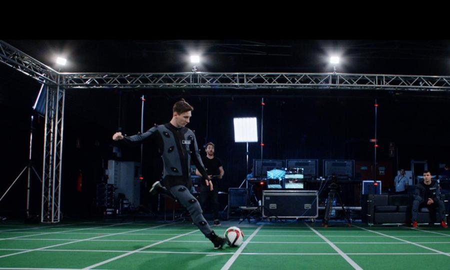 The real Lionel Messi is filmed for his Fifa avatar
