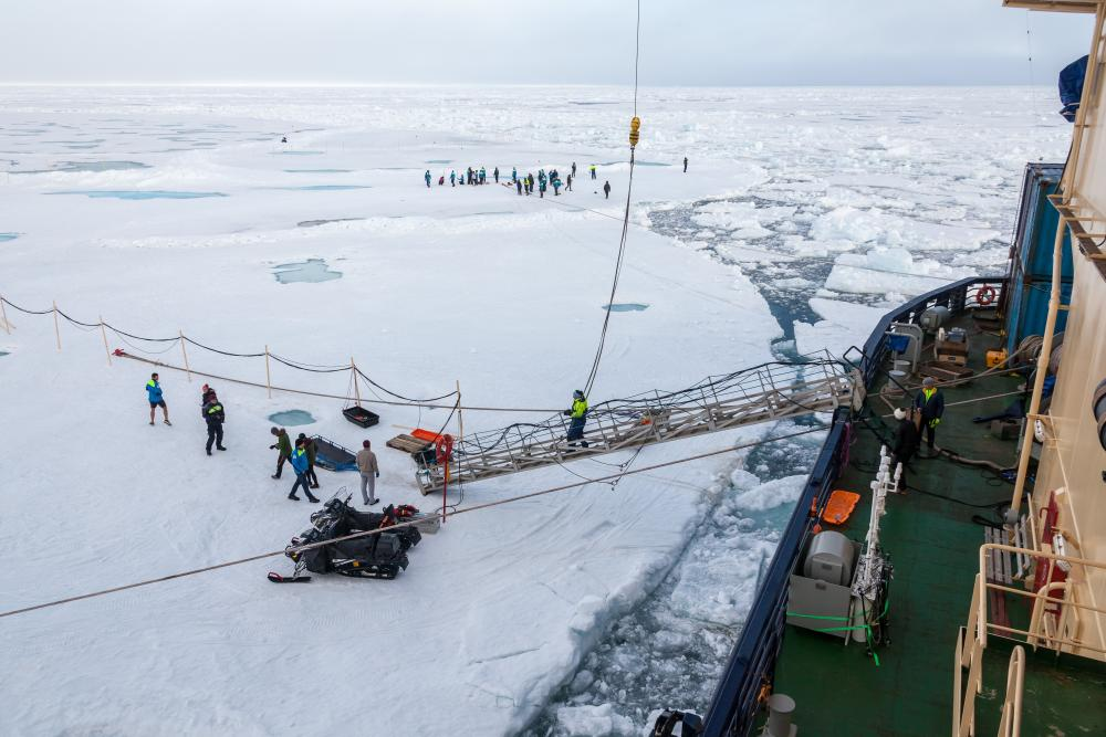 A gangway leads from the Oden to the ice floe