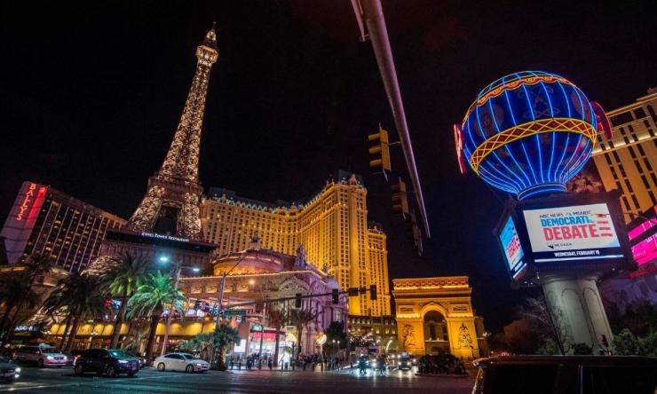 The exterior view of the Paris Las Vegas hotel on 18 February, 2020 when it was the venue for tomorrows Democratic Presidential Debate.