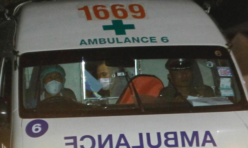 An ambulance arrives at hospital.