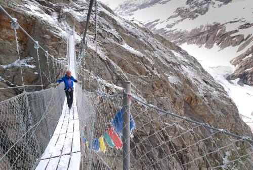 The recently constructed Himalayan-style bridge to the Conscrits hut – built because the trail was judged to be too dangerous.