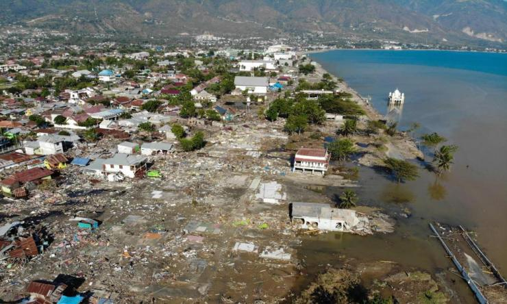 An aerial view shows the earthquake and tsunami in Palu