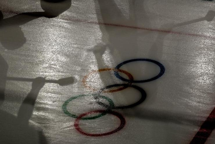 Shadows of players during the Men's Curling Round Robin sessions at the Gangneung Curling Centre.