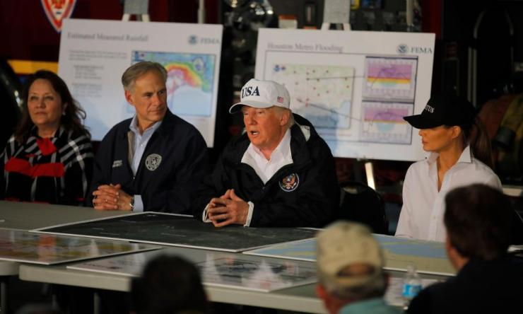 Trump receives briefing on Tropical storm Harvey relief efforts in Corpus Christi.