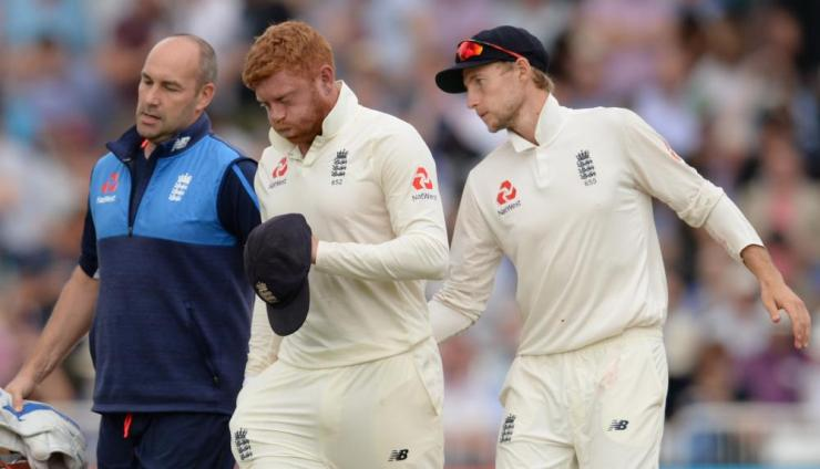 Bairstow leaves the field injured.