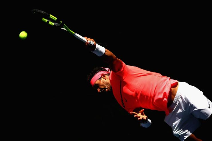 Nadal serves and wins the second set.