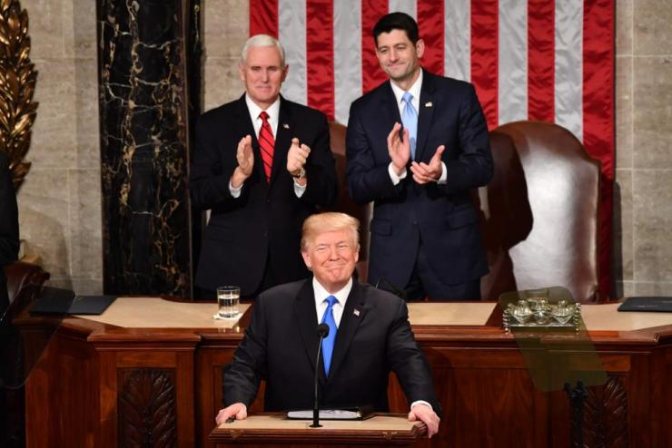 Donald Trump with vice-president Mike Pence and House speaker Paul Ryan at the State of the Union address.