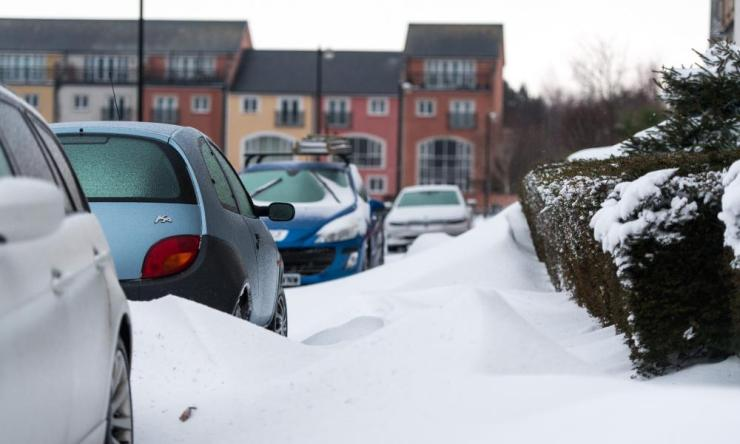 Snowdrifts caused by strong winds reach up to 3 foot high in Penarth, near Cardiff