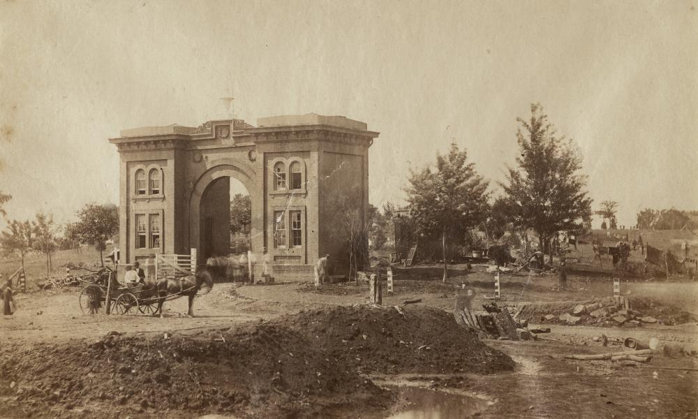 The gateway to the cemetery at Gettysburg, Pennsylvania, scene of the bloodiest battle of the American civil war, pictured in July 1863.