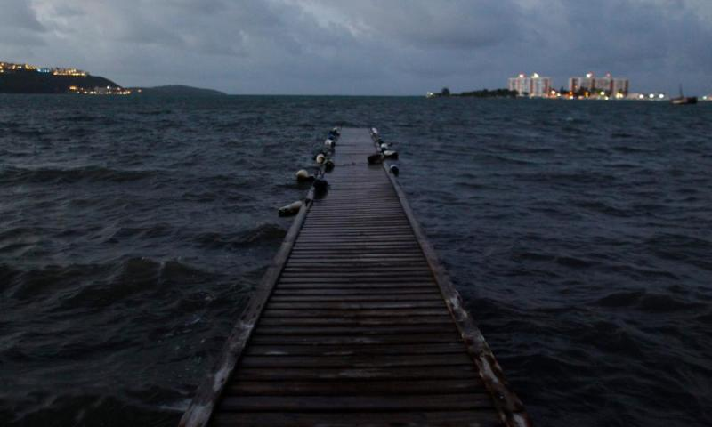 Sea water rises to a water deck as hurricane Irma approaches Puerto Rico in Fajardo.