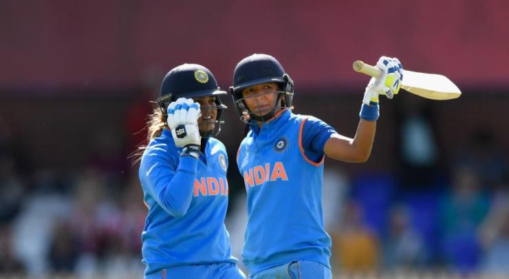 Harmanpreet Kaur celebrates reaching her 150.