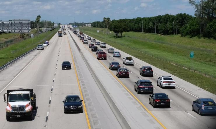Vehicles move north on the Florida Turnpike from the Keys and Miami.