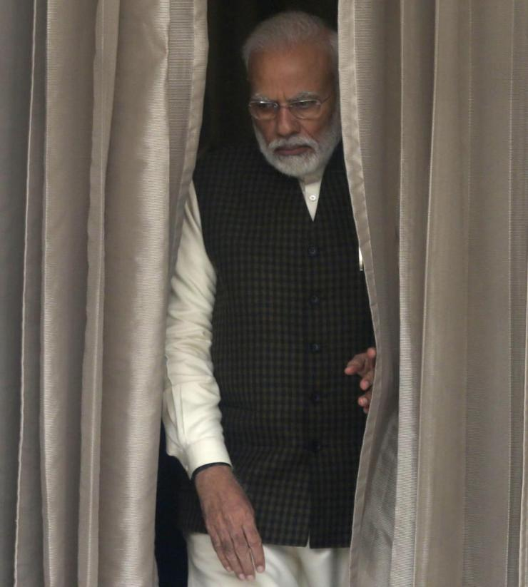 Narendra Modi waits for a meeting with his Portuguese counterpart, Antonio Costa, in New Delhi last week.