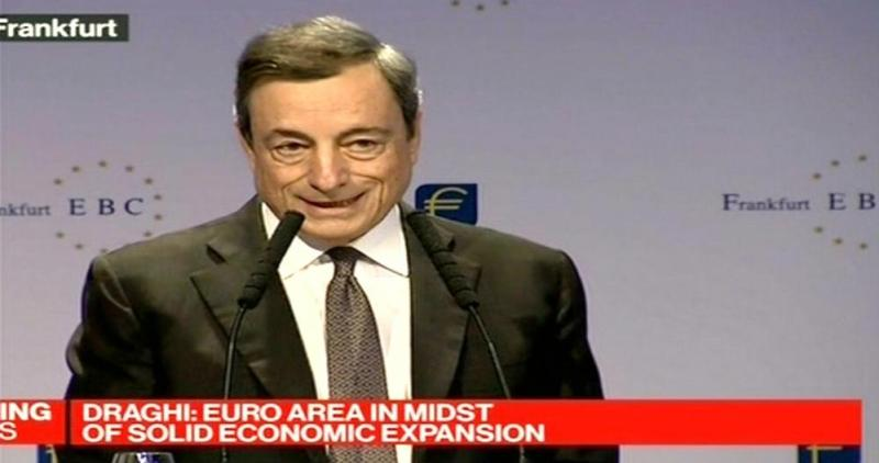 Mario Draghi gives a keynote speech in Frankfurt